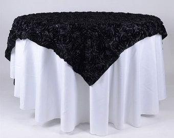 Table Overlay Rosette Chiffon 52 X 52 Inches Square Champagne