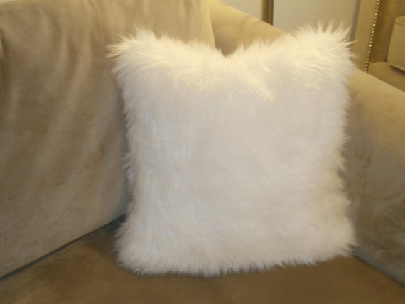 2 Pieces Bright White Faux Fur Cushion Pillow 30x30 Premium Etsy