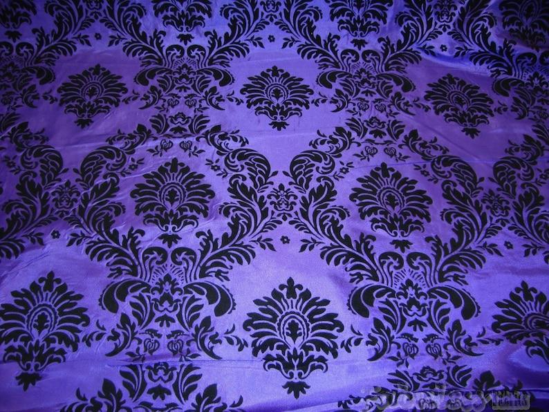 Taffeta Purple Black Flocking Damask backdrop fabric per yard image 0