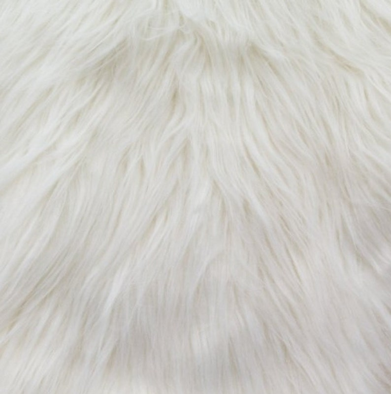 Faux Fake Fur Monkey White 60 Inch Fabric by the Yard