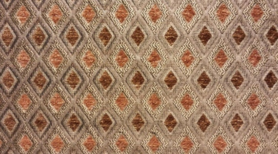 Rustic Diamond Chenille Upholstery Drapery Fabric By The Yard Etsy