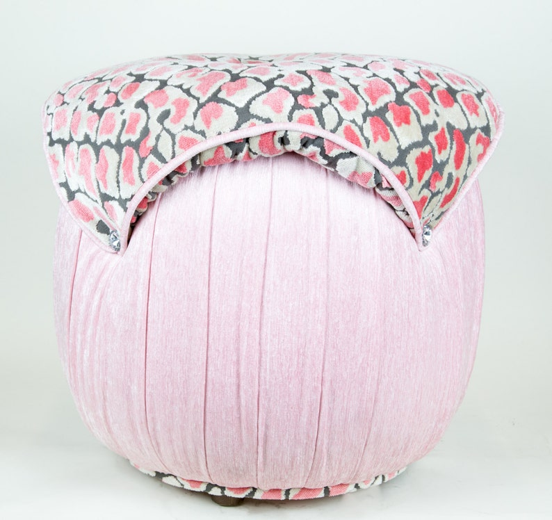 Magnificent Coral Leopard Top Pink Velvet Ottoman Tufted With Diamond Small Chair Seating Decor Ottoman Childrens Floor Pillow Beatyapartments Chair Design Images Beatyapartmentscom