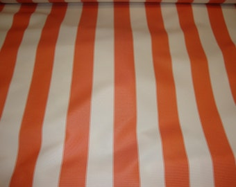 "Orange Ivory Striped Waterproof Outdoor Canvas fabric 60"" 600 Denier wide per yard"