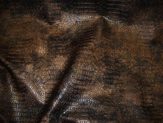 Gilt Metallic Gator Upholstery Faux Vinyl Fabric Per Yard Etsy
