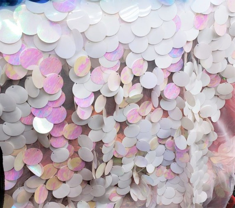 30mm White and Iridescent Pink Paillette Hologram Sequin Big Dot Mesh  54 inches wide wedding dress party decor fabric yard new fabric