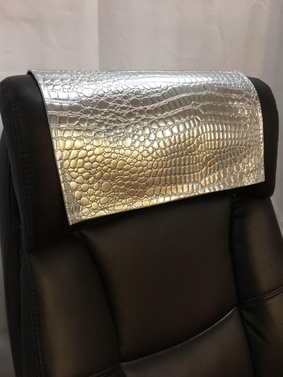 Pleasing Silver Crocodile Embossed Faux Leather Vinyl Sofa Loveseat Chaise Theater Seat Chair Caps Headrest Pad Recliner Head Cover Protector Machost Co Dining Chair Design Ideas Machostcouk