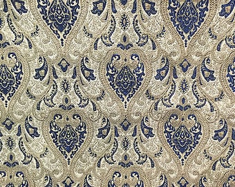 """Navy Damask Chenille Upholstery Drapery fabric by the yard 57"""" Wide"""
