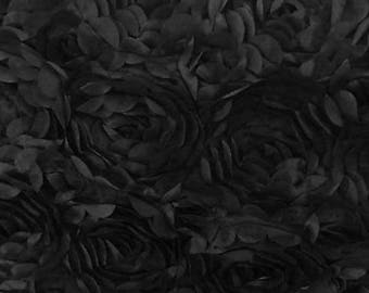 """Satin Bridal Petal Rosette on mesh Floral Fabric 52"""" Wide Sold By The Yard BLACK"""
