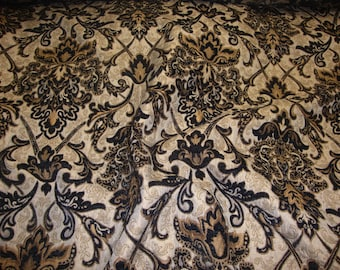 """Black Damask Chenille Upholstery Drapery fabric by the yard 57"""" Wide"""