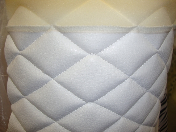 Vinyl Upholstery White Quilted Vinyl Fabric With 3 8 Etsy