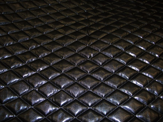 """Silver Wet Fetish Patent Quilted Vinyl fabric with 3//8/"""" Foam Backing Upholstery"""