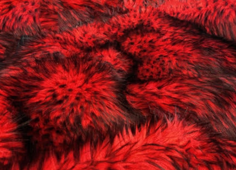"Husky Red faux Synthetic Fur upholstery Fabric by the yard 60/"" wide"