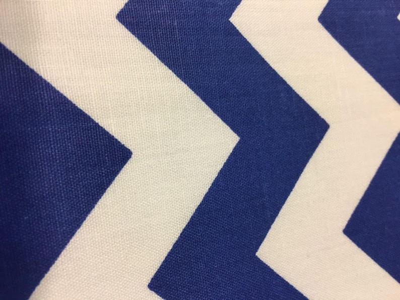 Royal blue white Zig Zag pattern Poly cotton blend fabric sold by the yard 60 inches wide