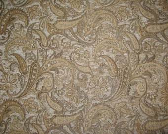 """Natural Paisley Chenille Upholstery Drapery fabric by the yard 57"""" Wide"""