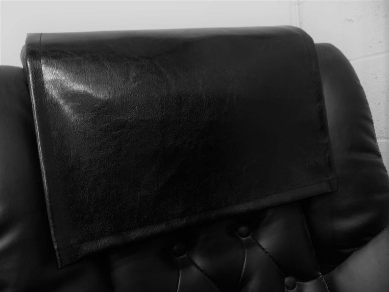 Theater Seat Arm Protector BLACK houston faux leather vinyl Sofa Headrest Recliner Cover Loveseat Chair Caps Chaise RV Cover