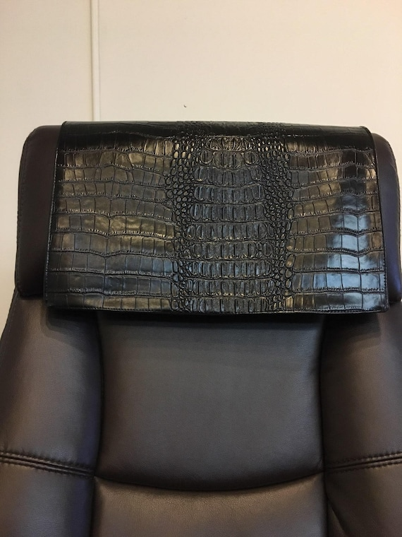 "14/"" x 30/"" Head Rest Cover Vinyl Sofa seat Chaise PVC Black Recliner"