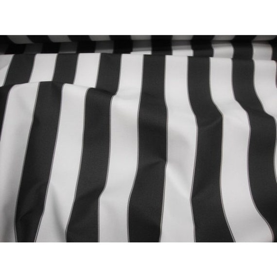 "Black and White 2/"" Deck Stripe OUTDOOR Fabric Fabric by the Yard"