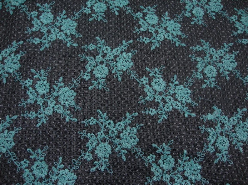 Baby Blue  Daisy Flower Embroidered Lace 55\u201d Fabric by the yard