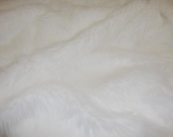 WHITE Faux fur pile Upholstery Fashion Decor Arts & Crafts Bedding fabric By The YARD