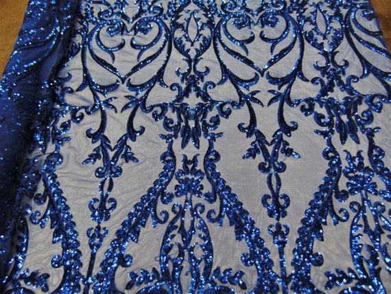 """SWEETHEART Damask 4-Way Stretch Mesh Lace BURGUNDY Tiny Sequin Fabric  56/"""""""