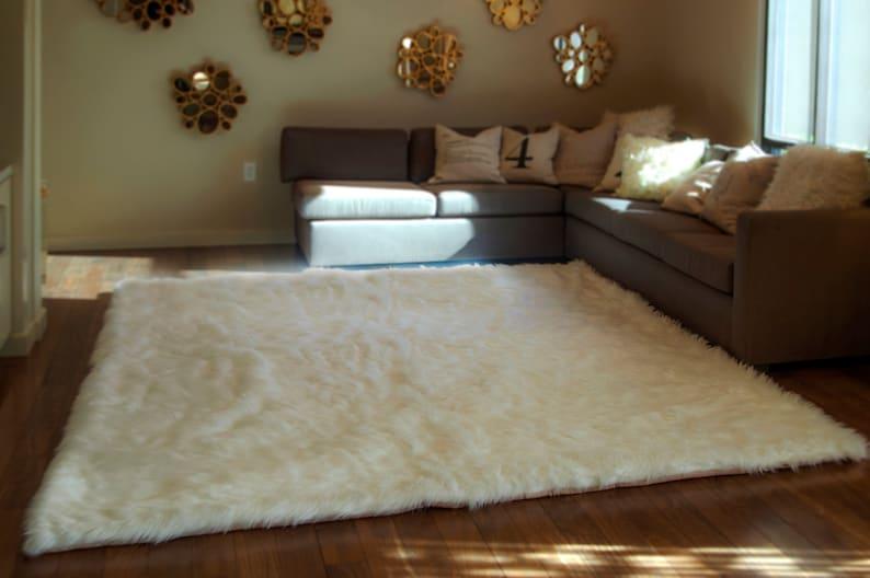 On Sale Rugs 8 X 10 White Shaggy Fur Faux Fur Etsy