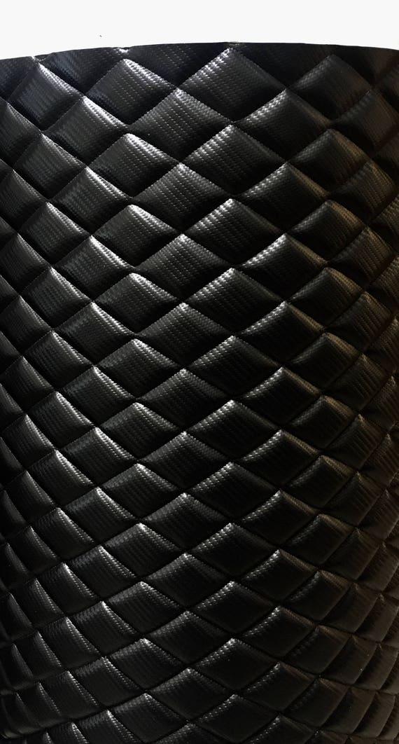 Vinyl Carbon Fiber Leather Faux Black Quilted Vinyl Auto Etsy