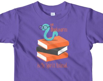 Book Lover Boys and Girls T-Shirt - Bookworm gifts, The Bookworm is My Spirit Animal - For little kids 2-6 years old Short Sleeve T-Shirt