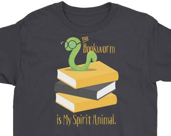 Book Lover Kids T-Shirt - Book Lover gifts, The Bookworm is My Spirit Animal gift - Boys and Girls Short Sleeve T-Shirt by Glimmersmith