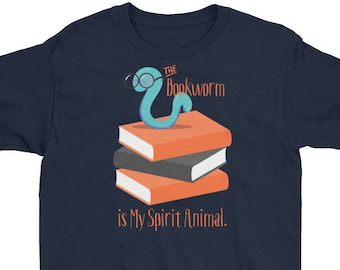 Book Lover Kids T-Shirt - Bookworm gifts, The Bookworm is My Spirit Animal book lover gift - Youth Short Sleeve T-Shirt by Glimmersmith