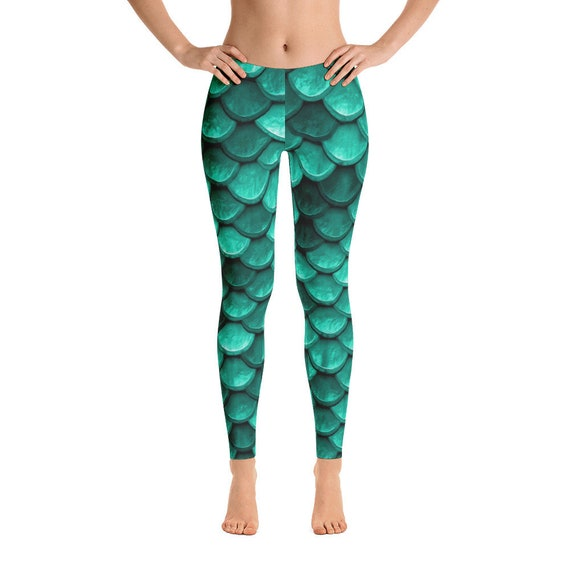 a9c80bbb463e3 Mermaid Leggings Teal green mermaid tail workout wear | Etsy