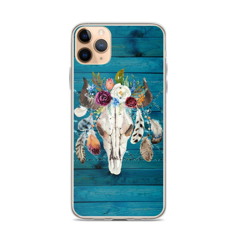 feathers flowers and leaves Rustic Glam Boho Chic Longhorn skull pretty iPhone case Teal wood planks Boho Southwestern iPhone Case