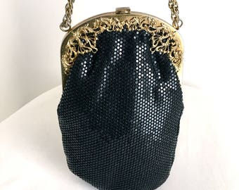 Vintage Black Fused Plastic Mesh Evening Bag with Ornate Gold Frame