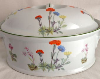 Vintage Philippe Deshoulieres Louis Lourioux Wildflower Covered Casserole, Made in France