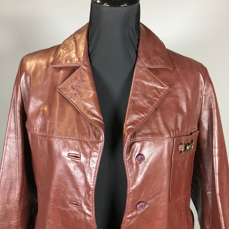 41d30f3be Etienne Aigner Cordovan Maroon Leather Coat, SIZE SMALL, Knee Length