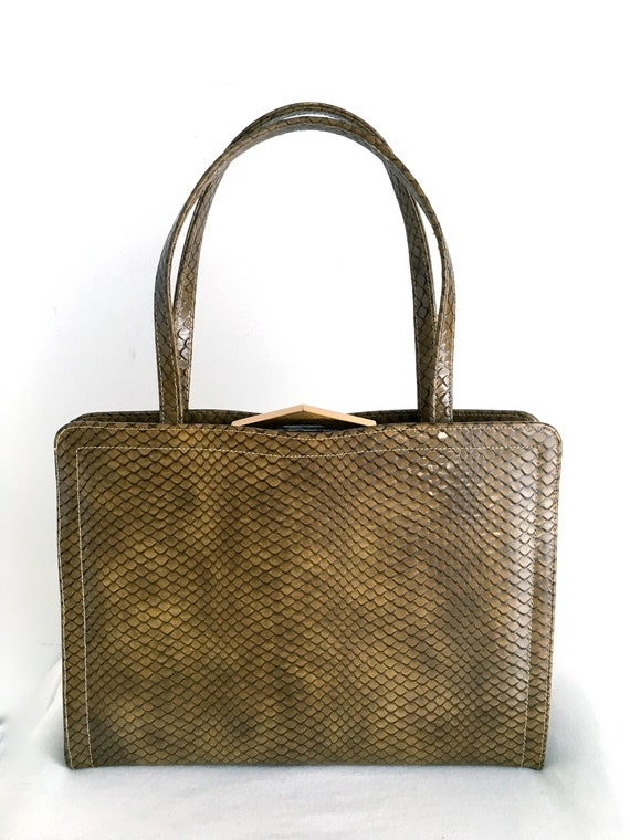 1960's Coquette Snake Embossed Patent Leather Bag,