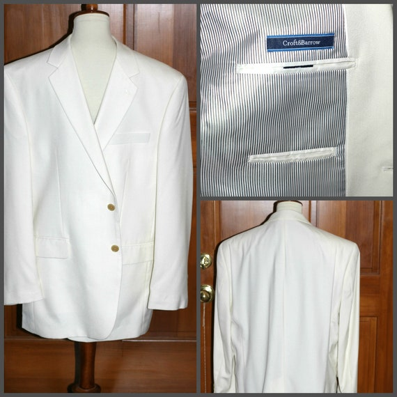 White Sport Coat for Men 44 R Croft & Barrow Worn