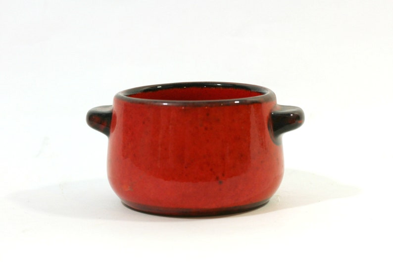 Gift for Grad or Wedding Gerz West Germany Stoneware Chili Bowl Red /& Brown Orange Pottery Crock Vintage Gerz Soup Bowl with Handles