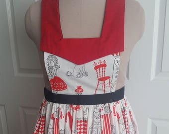 Retro / Vintage style apron, black white & red all over, cotton print