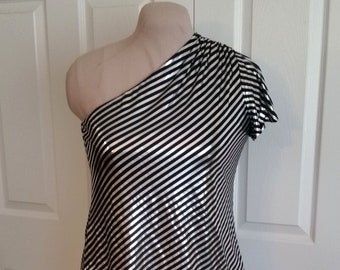 Silver and Black Striped One Shoulder Disco Top, 10, 12, 14, 16, Metallic