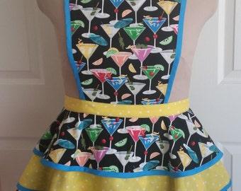 MARTINI TIME! Swanky Vintage style Martini print apron, ladies' size small, medium, large