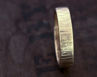 Wind + Water Wedding Band. Unique Wedding Band. Mens Hammered Wedding Band. Gold Wedding Band. Eco Friendly