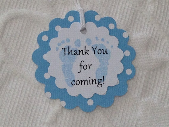 Thank You For Coming Baby Shower Tags Footprint Baby Favor Etsy