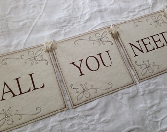 All You Need Is Love Banner - Rustic Bridal Shower Decor - Rustic Wedding Banner - Photo Prop