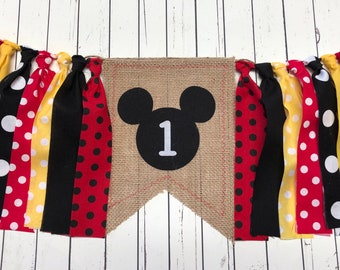 c486190127 WEEKEND SALE Ends Sunday Mickey Mouse Inspired Fabric Banner Mickey Mouse  Dots Highchair Garland/Banner ,Photo Prop, Rag High Chair Banner