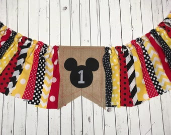 WEEKEND SALE Ends Sunday Birthday Banner Mickey Mouse Highchair Garland/Banner ,Photo Prop, Rag Tie High Chair Banner