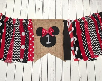 WEEKEND SALE Ends Sunday Girl Classic Mickey Mouse Birthday Banner Highchair Garland/Banner/Bunting ,Photo Prop, Rag Tie High Chair Banner