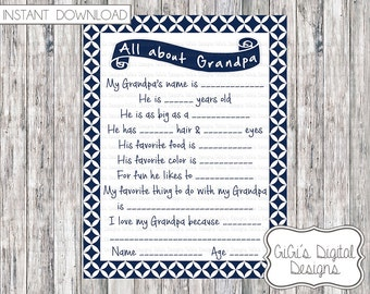 All about Grandpa, Father's Day Questionnaire, All About Poppa, Father's Day Gift, Father's Day Survery, Grandparents Day Gift, Grandparent