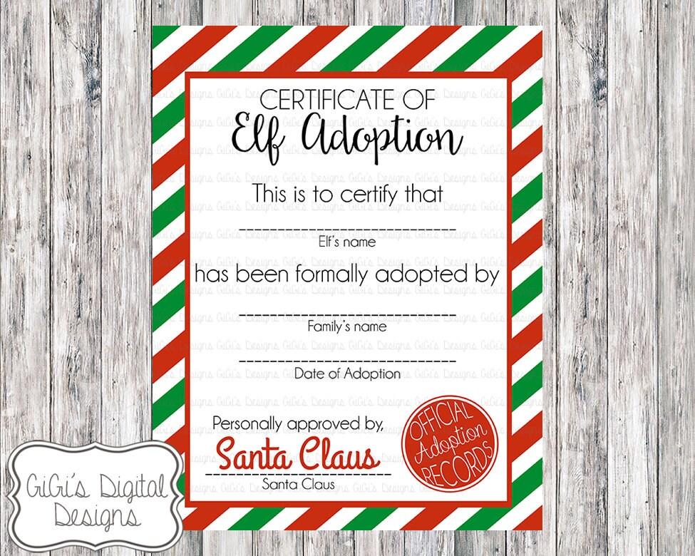 Elf Adoption Certificate Christmas Shelf Elf Adopt An Elf Etsy