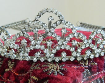 Vintage rhinestone crown sparkly tiara beauty pageant prom crown shabby romantic display costume prop decoration