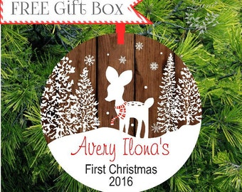 Baby Ornament   Baby's First Christmas Ornament   Fawn Deer Personalized Christmas Ornament   Personalized New Baby Gift    lovebirdslane
